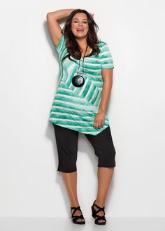 Plus Size Tops | Plus Size Evening Tops - BY THE MARINA STRIPE TEE - TS14 Z