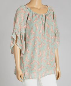 Look what I found on #zulily! Aqua & Pink Floral Tunic - Plus #zulilyfinds