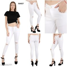 Checkout this latest Jeans Product Name: *MM-21 White Knee Cut Silky Denim Skinny Fit Jeans For Women * Fabric: Denim Multipack: 1 Sizes: 30 (Waist Size: 30 in, Length Size: 36 in)  32 (Waist Size: 32 in, Length Size: 36 in)  34 (Waist Size: 34 in, Length Size: 36 in)  Country of Origin: India Easy Returns Available In Case Of Any Issue   Catalog Rating: ★4.1 (613)  Catalog Name: Fancy Partywear Women Jeans CatalogID_1882792 C79-SC1032 Code: 844-10356771-4311