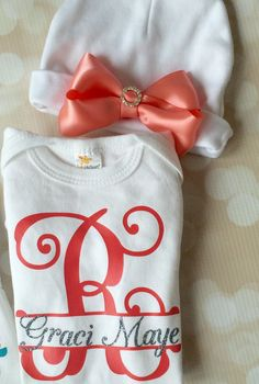 Personalized Baby Girl Set - Coral and Silver Monogram Outfit - Hat with Bow - Take Home Bodysuit -Long Sleeved -Baby Girl
