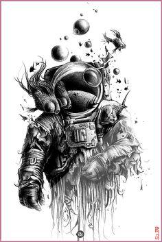 Space Tattoo Sleeve, Tattoo Sleeve Designs, Tattoo Designs Men, Sleeve Tattoos, Gun Tattoos, Arrow Tattoos, Word Tattoos, Tatoos, Astronaut Tattoo