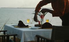 Romantic Dinners overlooking spectacular Mkoma Bay