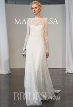 Brides.com: Marchesa - Spring 2015. Long sleeve fully re-embroidered Chantilly lace A-line wedding dress with an illusion high neckline, Marchesa
