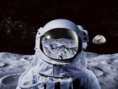 Astronaut in Space Art Background Photo Panel - Durable Finish - High Definition - High Gloss Illustration Wallpaper, Helmet Drawing, Astronaut Illustration, Strange Things Are Happening, Astronaut Helmet, Planets Wallpaper, Space Fashion, Astronauts In Space, Art Background