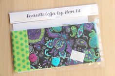 DIY Coffee Cup Sleeve Sewing Kit - Purple and Turquoise Paisley with Green Dots - Ready to Ship by CraftyStaci
