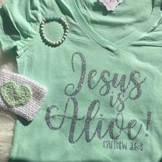 Easter Jesus is Alive Vneck Christian Shirt