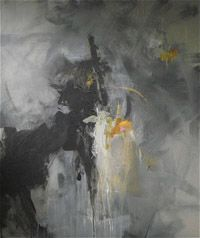 Abstract painting by Charles E Ross titled Midnight Train