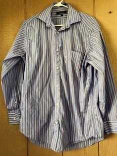 Faconnable Men's Button Down Long Sleeve Shirt Blue Orange Striped Cotton 15 1/2 #Faonnable #ButtonFront