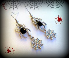Spider Web Earrings..Black Spider Earrings..Halloween Earrings..Silver Tone Spider Earrings..Gothic Earrings..Punk Earrings..Spider Jewelry by UniqueTrinkets4u on Etsy #uniquetrinkets