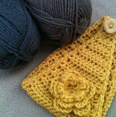 Crocheted Flower Earwarmer Headband in Mustard by SoBebelicious