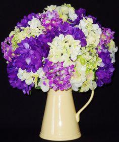 Silk Floral Arrangement, Lavender, Purple, and Green Hydrangea, Silk Flower Arrangement, Artificial Flower Arrangement
