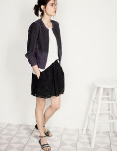 Madewell Folkstich jacket worn with Modern Linen Muscle tee + Bayfront eyelet skirt.
