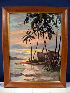 Vintage paint by number tropical scene