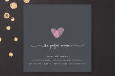 Fingerprint Heart Engagement Party Invitations