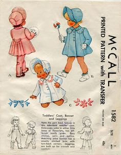 McCall 1582 Vintage Toddler Coat and Leggings Pattern- i need to make one of these cute vintage style coats! Childrens Sewing Patterns, Mccalls Sewing Patterns, Kids Patterns, Vintage Sewing Patterns, Clothing Patterns, Embroidery Patterns, Childrens Coats, Moda Lolita, Patron Vintage