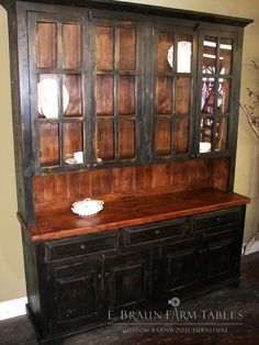 Tall Black And Tudor Hutch Crafted By E Braun Farm Tables Furniture