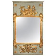 French Painted and Giltwood Louis XVI Trumeau Mirror, late 18th Century