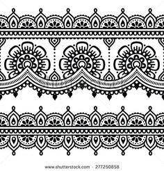 Illustration of Mehndi, Indian Henna tattoo seamless pattern, design elements vector art, clipart and stock vectors. Henna Tatoos, Henna Tattoo Designs, Henna Mehndi, Henna Art, Mehndi Designs, Mehendi, Paisley Tattoos, Henna Mandala, Maori Tattoos