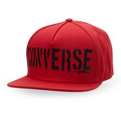 Converse Stencil Logo Snapback ($9.32) ❤ liked on Polyvore featuring men's fashion, men's accessories, men's hats, red, mens hats, mens red hats, mens flat hats and mens snapbacks