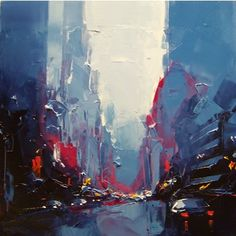 Daniel Castan, Blue Manhattan, Alkyd Oil on Canvas/ Alkyd-Öl auf Leinwand, 80x80cm, Carré d`Artistes Deutschland, Berlin, NYC