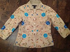 100% Silk Embroidered Jacket/Top by Silk Land   Size S  $8.99 eBay
