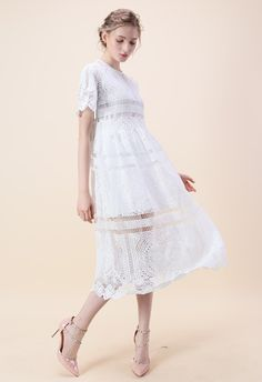 Going traditional is all the creativity you need. Throw it back with this classic shift dress silhouette boasting spring-ready crochet lace.   - Full crochet finished - Cami underdress accompanied - Concealed back zip closure - Eyelet detail - Scrolled hemline and cuffs - Not lined - 100% Polyester - Hand wash  Size(cm)Length Bust Waist Shoulder Sleeves S/M        115   90   86     38      24 L/XL        116   94   90     40      25...