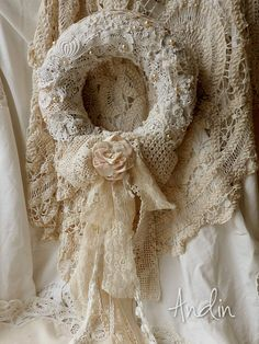 Beautiful lace & crochet detail on wreath