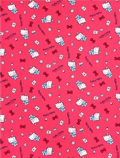 pink Hello Kitty oxford fabric teddy bow comb by Sanrio from Japan 2
