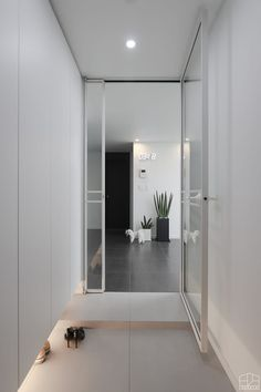 Door Design, House Design, House Entrance, Aesthetic Bedroom, Downlights, White Wood, Windows And Doors, Glass Door, Sweet Home