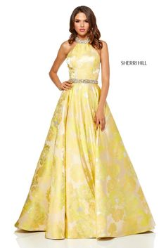 Sherri Hill 52425 is a sleeveless prom gown with a beaded choker collar and beaded waistband, sheer side cut outs, and a floral print. Floral Prom Dresses, Grad Dresses Long, Beautiful Prom Dresses, Formal Dresses, Mob Dresses, Elegant Dresses, Pretty Dresses, Casual Dresses, Flare Skirt
