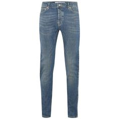 TOPMAN Light Wash Side Taping Stretch Skinny Jeans ($63) ❤ liked on Polyvore featuring men's fashion, men's clothing, men's jeans, blue, mens light wash skinny jeans, mens stretch jeans, mens blue jeans, mens light wash jeans and mens super skinny stretch jeans