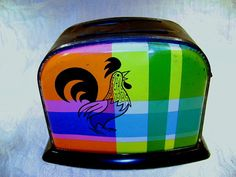 Vintage Toy Toaster Rooster Plaid Lithograph Ohio by junquegypsy, $14.20