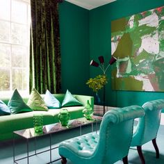 Green is easy on the eye and it has a calming effect when used in a decorating scheme, making it ideal for living rooms and bedrooms. (housetohome.co.uk)