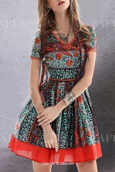 $30.99  Vintage Floral Short Sleeve Flare Dress