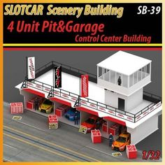 Slotcar scenery building 4 unit pit&garage for scalextric,carreara tracks