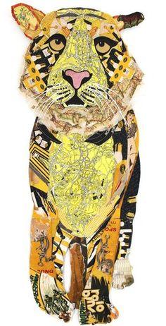 Peter Clark, Tiger, found vintage paper collage, 2013 (Rebecca Hossack Gallery)