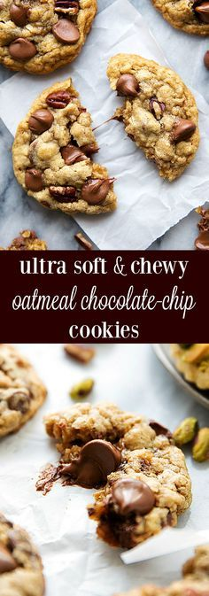 A few secret ingredients make for the softest and chewiest oatmeal chocolate-chip cookies with pecans