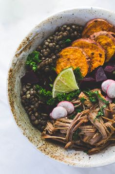 Wholesome, Colorful Lentil Bowls: with roasted vegetables, steamed kale, and pork