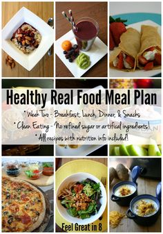 Healthy Real Food menu Plan