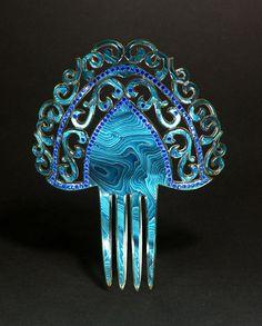 Hair comb | | Celluloid & rhinestones | Creative Museum
