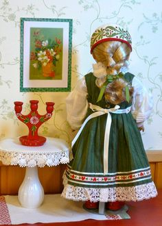 American Girl, 18 inch doll clothes: Scandinavian traditional style Christmas dress with cap, boots, apron, and pantalettes