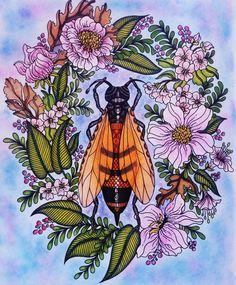 Dagdrömmar  Colorié aux crayons de couleurs Polycolor 72. Estompé à l'essence sans odeur.  Fond pastel sec et Pocsa blanc.