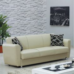Fina Brown Leatherette Sofa Bed By At Home Usa Convertible - Fina-leather-sofa-by-athomeusa