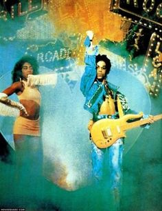 "Classic Prince | 1987 Sign ""☮"" The Times - Cat & Prince album promo photo ON the same stage as shown in the album cover - Jeff Katz photographer"