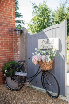 Bicycle Flowers Basket Welcome Sign Decor Pastel Country Garden Wedding http://www.katherineashdown.co.uk/
