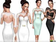 Dress with lace bodice. Long Sleeve. Custom mesh by me. Found in TSR Category 'Sims 3 Female Clothing'