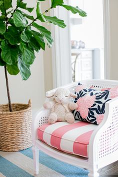 Gorgeous striped pink and white chair cushion with Caitlin Wilson cushion Blue And White Fabric, Diy Furniture Projects, Little Girl Rooms, Pottery Barn Kids, Autumn Home, Room Colors, Home Decor Bedroom, Interiores Design, E Design