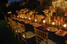 Navy, Pink and Gold party. 30th Birthday. Outdoor dinner party.