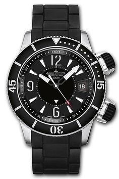Jaeger Le Coultre Master Compressor Diving Alarm Navy SEALs Watch- 183T770. Limited edition of 1500 pieces for the entire series, round titanium case (46.3mm diameter, 16.2mm thickness) with rotating scratch-resistant ceramic diving bezel, articulated black rubber strap (additional Cordura strap included), black dial with luminous hands and index hour markers, rotating inner disc shows the alarm time, 23 jewel Caliber 956 self-winding movement, water-resistant to 300 meters (660 feet).