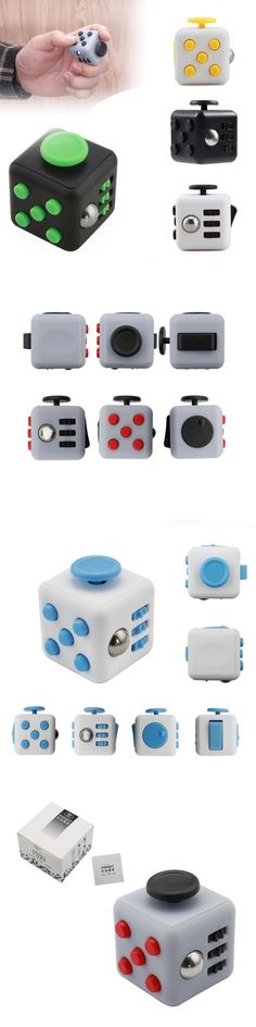 Mini Fidget Cube Vinyl Desk Toy Keychain Squeeze Fun Stress Reliever 11 Colors Click Glide Flip Spin Breathe Roll With Box